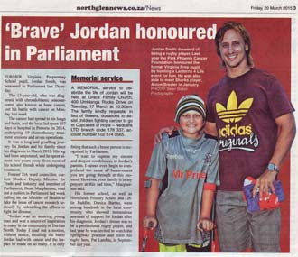Jordan Smith honoured in parliament